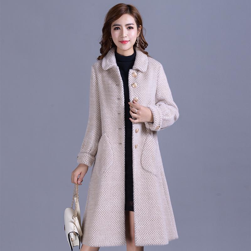 水貂绒毛呢子大衣女中长款2018冬新韩版款加厚无羊绒黄金貂绒外套