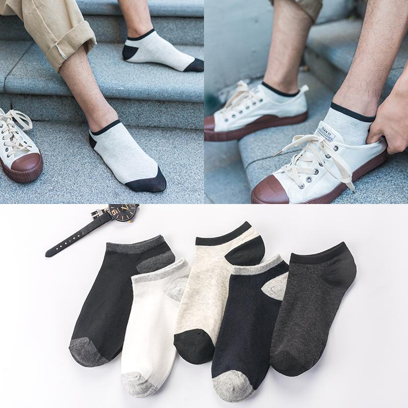袜子男短袜韩版红袜子低帮短筒防臭吸汗船袜秋冬中筒袜5双非纯棉
