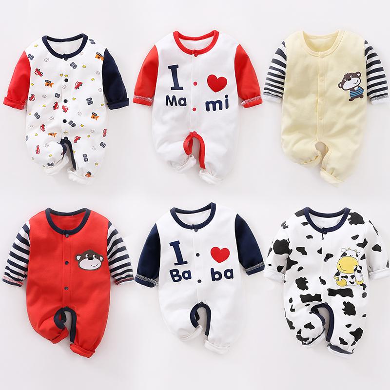 婴儿开裆连体衣春秋季装0-3-6个月宝宝纯棉长袖衣服夏季哈衣爬服