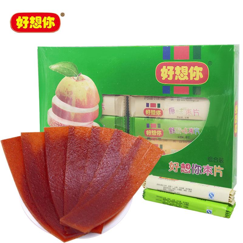 好想你枣片360克 混装红枣片原味阿胶野酸味3种口味100片休闲零食