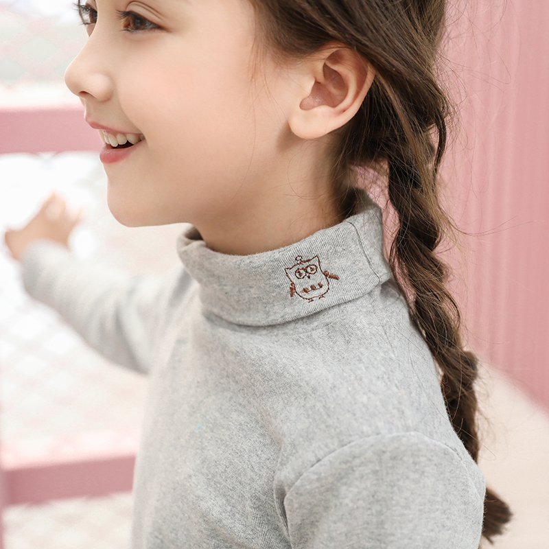 儿童秋冬装女童加绒加厚上衣男童一体洋气春装纯棉宝宝高领打底衫