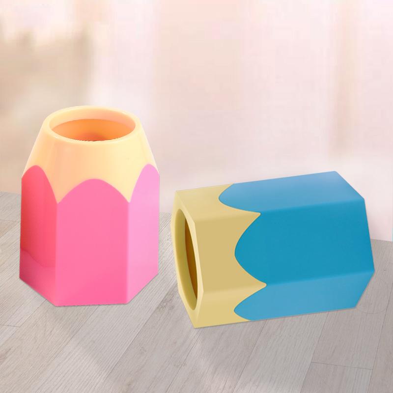 科记笔筒创意时尚 彩色多功能三层组合小清新桌面办公笔筒收纳盒