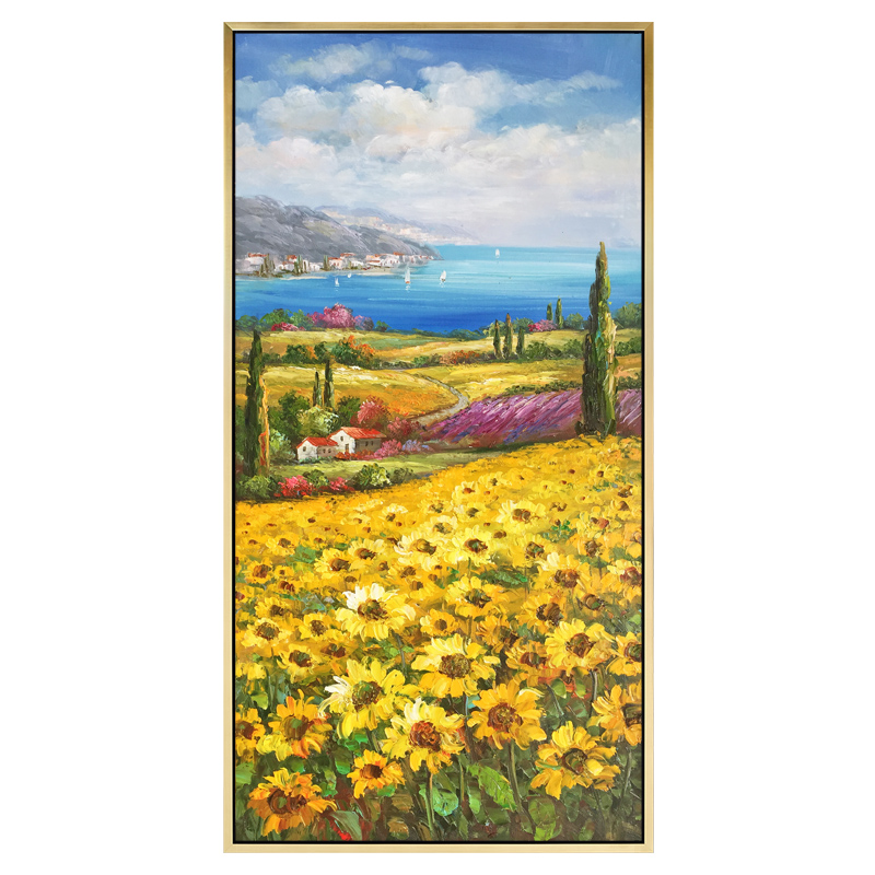 地中海风情简约现代花卉风景欧式手绘油画竖版客厅装饰画向日葵