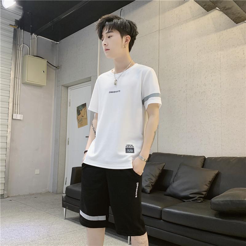 夏季热销男士休闲套装两件组合装圆领T恤休闲短裤五分裤运动装潮
