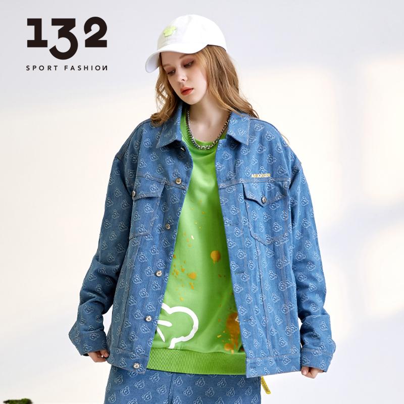 132潮牌小熊牛仔外套女情侣装街头国潮秋季夹克宽松个性满印上衣