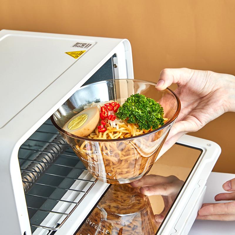 日式玻璃碗沙拉碗耐热水果碗盘单个家用带盖泡面碗汤碗创意餐具