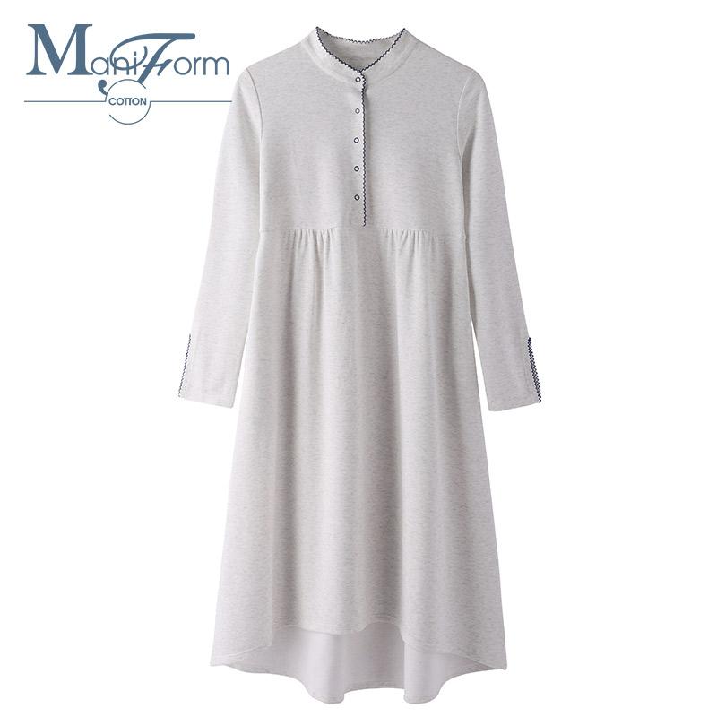 曼妮芬棉质生活40S的针织棉双面布撞色文艺绣边立领长袖睡裙 QD