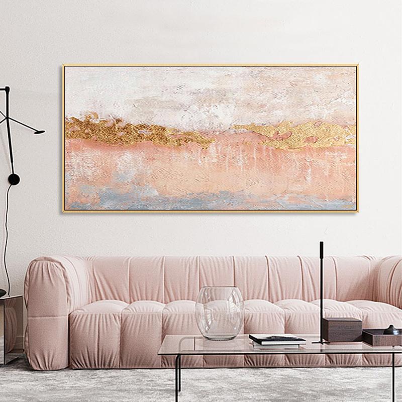 手绘油画北欧客厅装饰画现代简约ins风粉色轻奢抽象唯美横版挂画