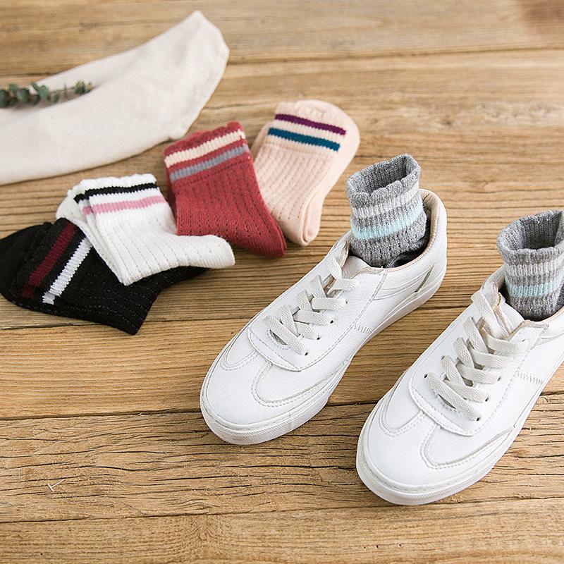 袜子女中筒袜秋冬日系学院风兔绒双杠网眼女短袜堆堆袜透气运动袜