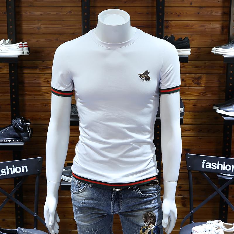 2019夏季男装半恤打底衫韩版修身大码条纹潮流小蜜蜂刺绣短袖t恤