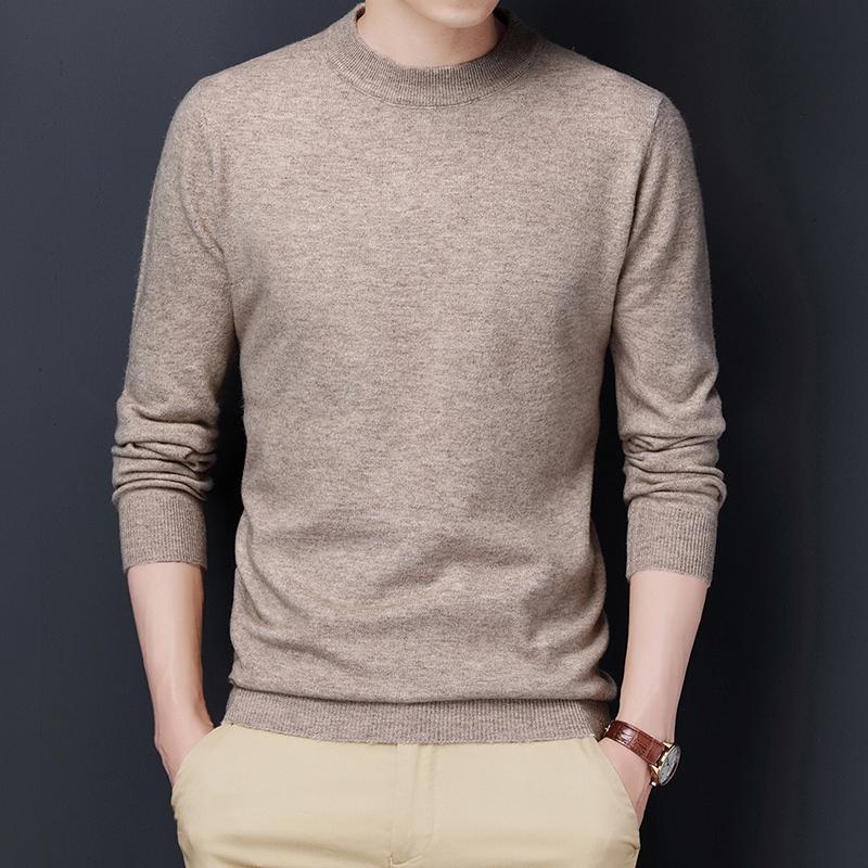 原沿圆领男士毛衣纯色秋季商务个性线衣秋冬季针织衫春秋款打底衫