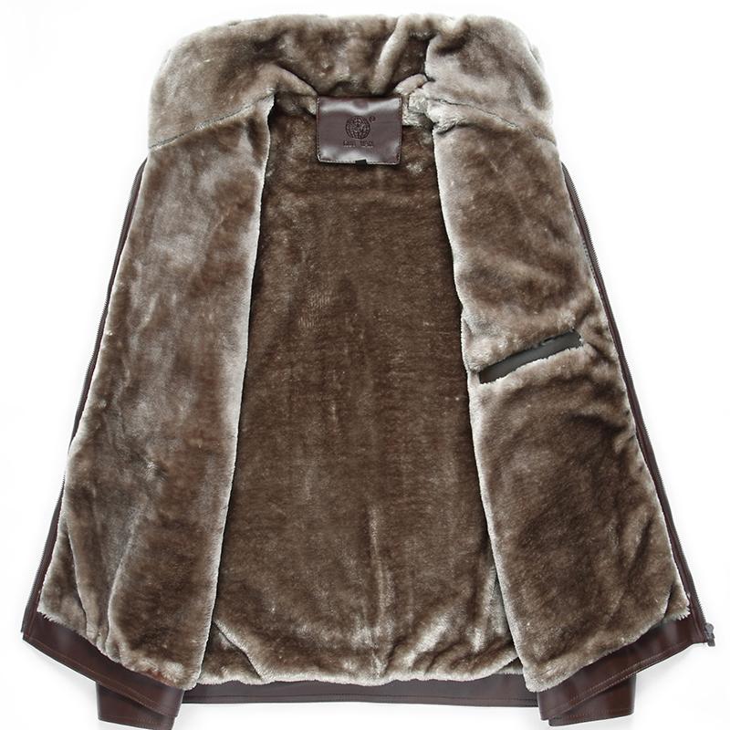爸爸皮衣加绒加厚款男装冬装外套冬季中年男士休闲中老年人皮B