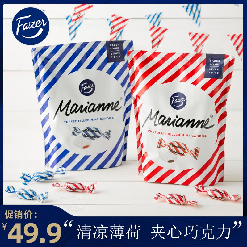 芬兰进口,Fazer 菲泽 梦娜薄荷夹心太妃糖/巧克力 220g共45粒