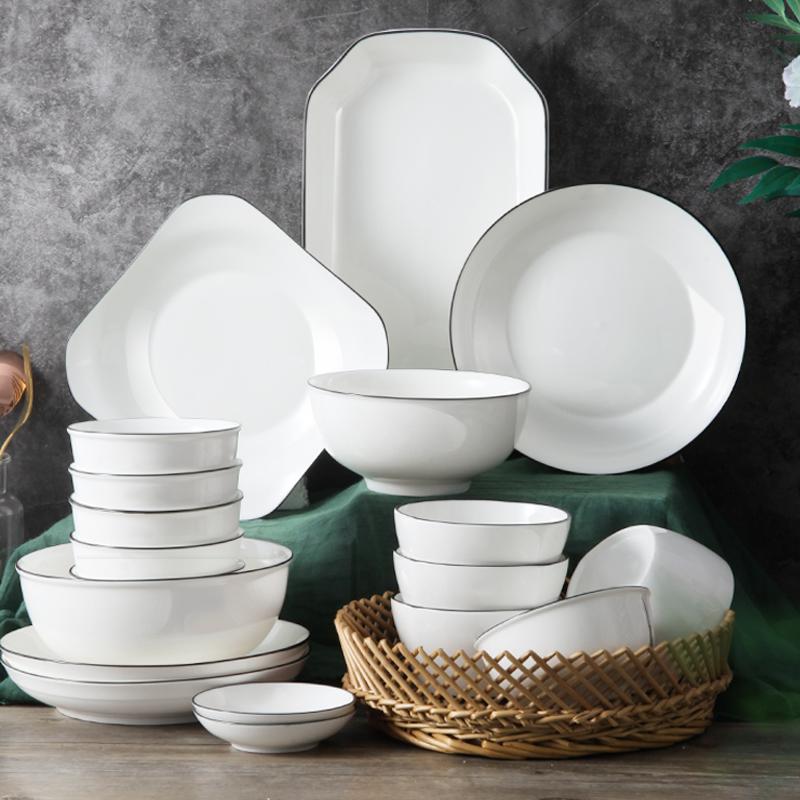 碗碟套装碗盘子家用餐具陶瓷北欧网红ins吃饭碗筷4-10人日式轻奢
