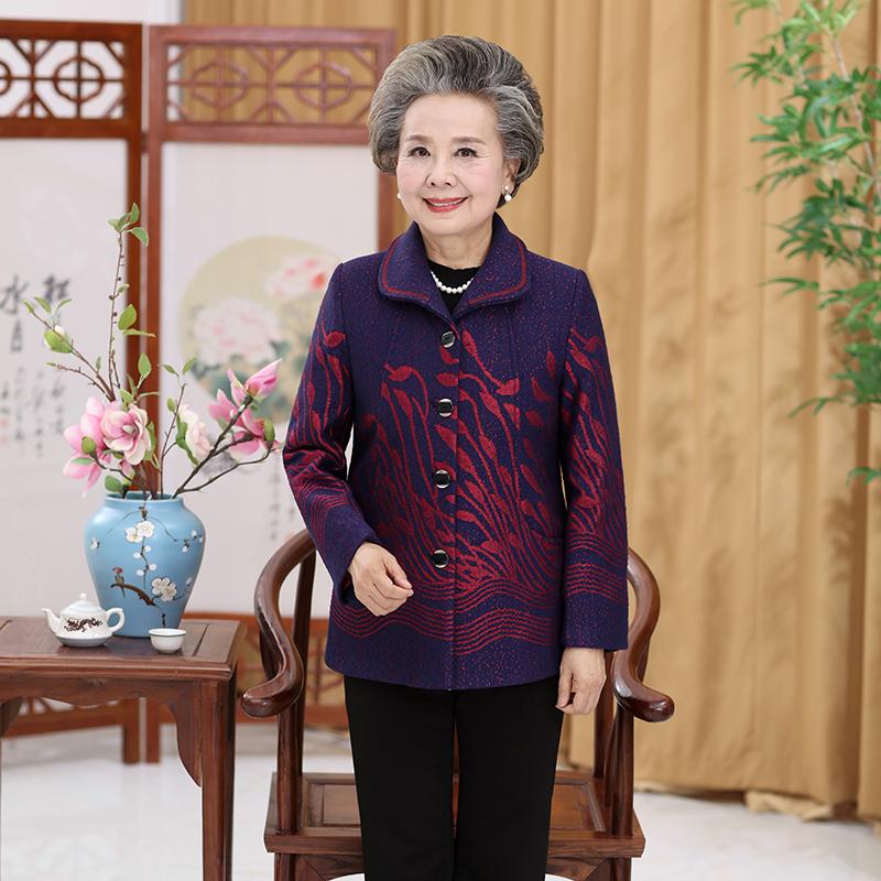旧传(服饰)2020秋季新款中老年外套妈妈装衣服奶奶装翻领套装