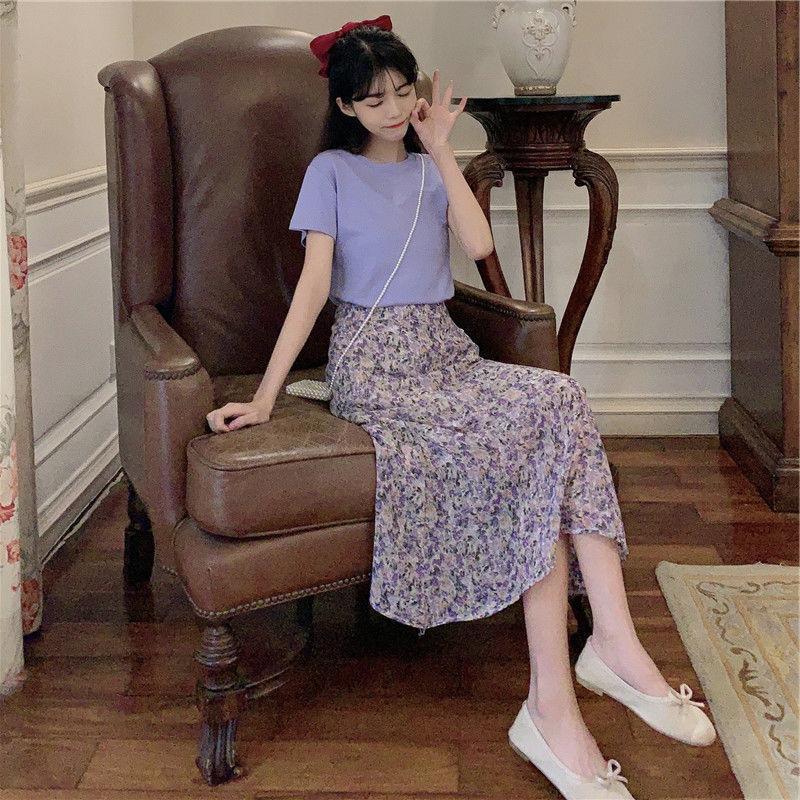 套装 两件套装显瘦2020新款碎花紫色连衣裙子夏季大码女装