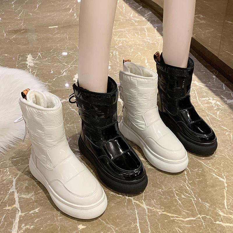 加厚加绒防水冬季白色雪地靴女鞋2020新款百搭短筒中筒厚底棉靴子