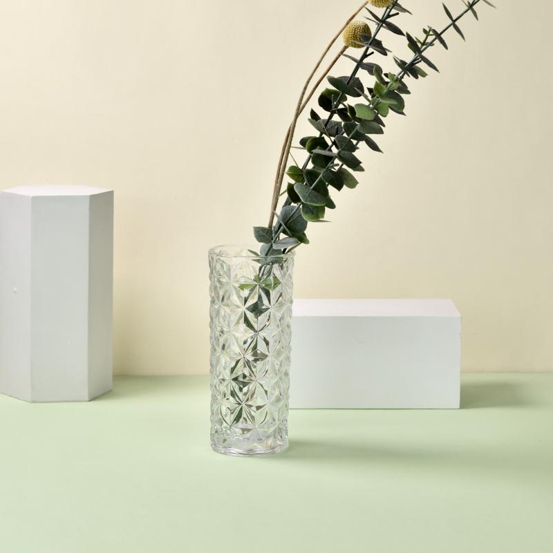 生活无忧玻璃透明百合摆件客厅插花干花北欧家用水养富贵竹花瓶