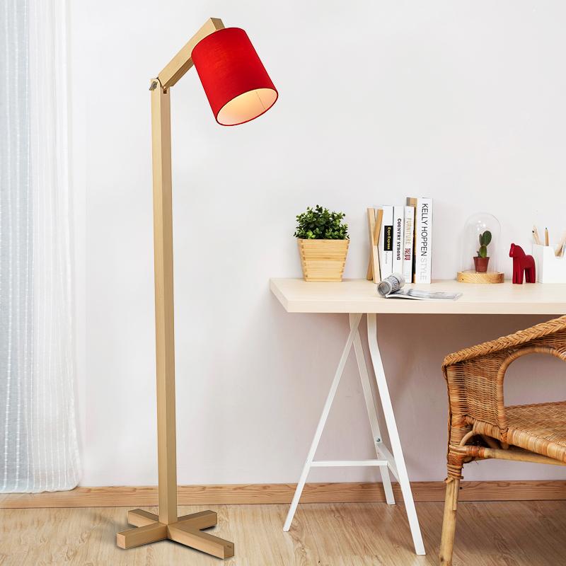 简约现代实木落地灯客厅沙发灯卧室床头led美式乡村阅读落地台灯