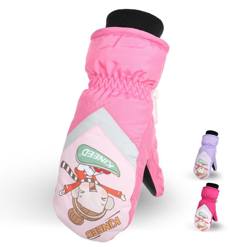 户外儿童滑雪手套保暖全指棉冬季加绒加厚宝宝小男孩女童可爱卡通