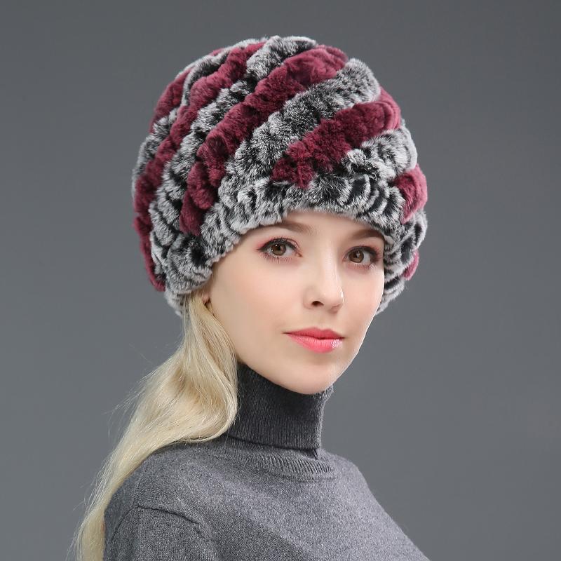 中老年兔毛帽子女冬季妈妈帽保暖护耳皮草帽子獭兔毛线针织帽围巾