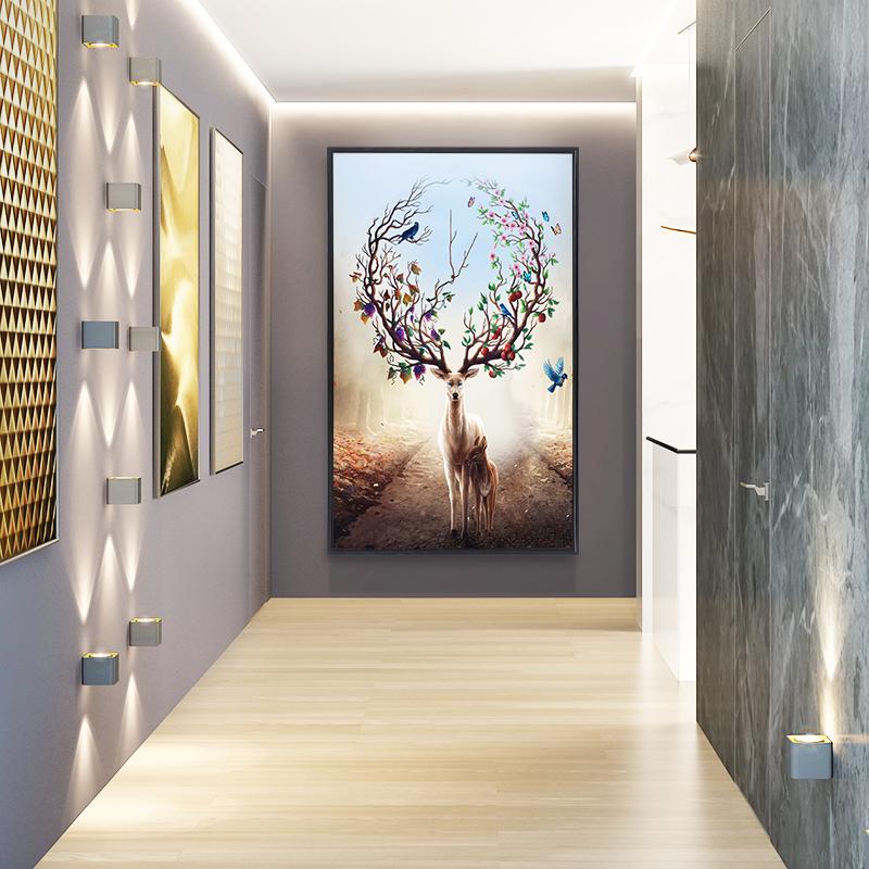 入户玄关装饰画竖版过道走廊墙面画现代简约招财风水壁画门口挂画