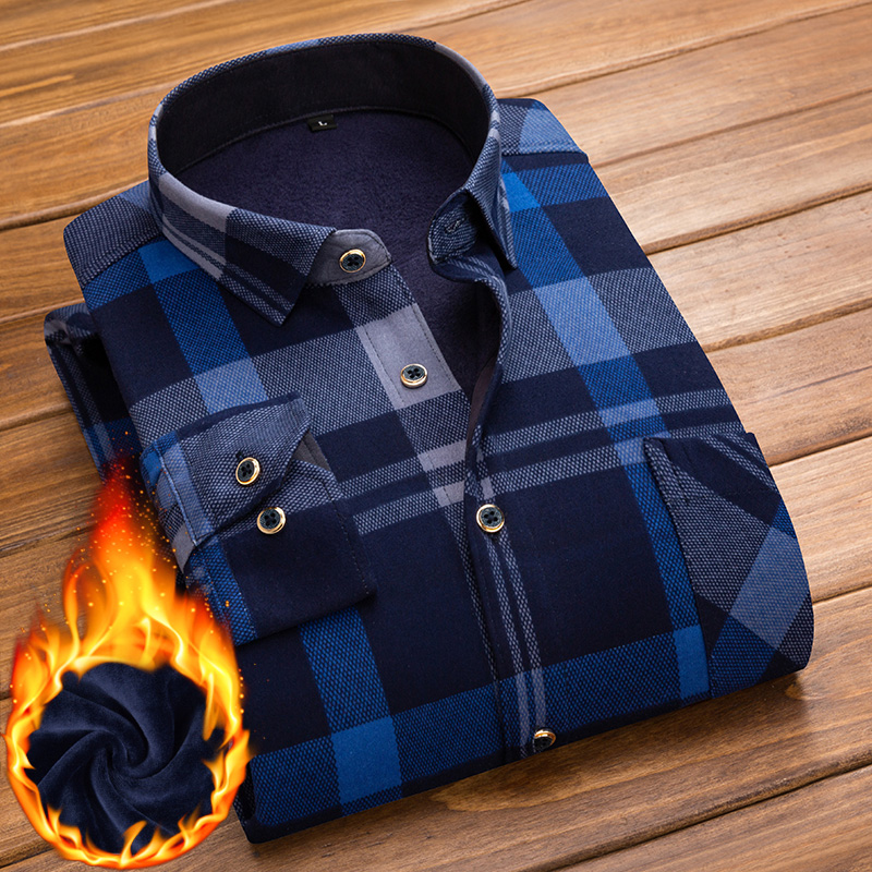 秋冬季男士保暖衬衫加绒加厚款长袖格子衬衣韩版潮上衣服中年寸衫