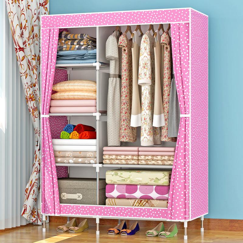 亚思特布衣柜钢管加粗加固加厚简易衣柜防尘防潮组装衣橱收纳柜子