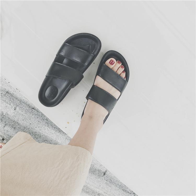 拖鞋女夏韩版休闲百搭学生凉拖鞋原宿复古舒适沙滩鞋松糕底拖鞋女