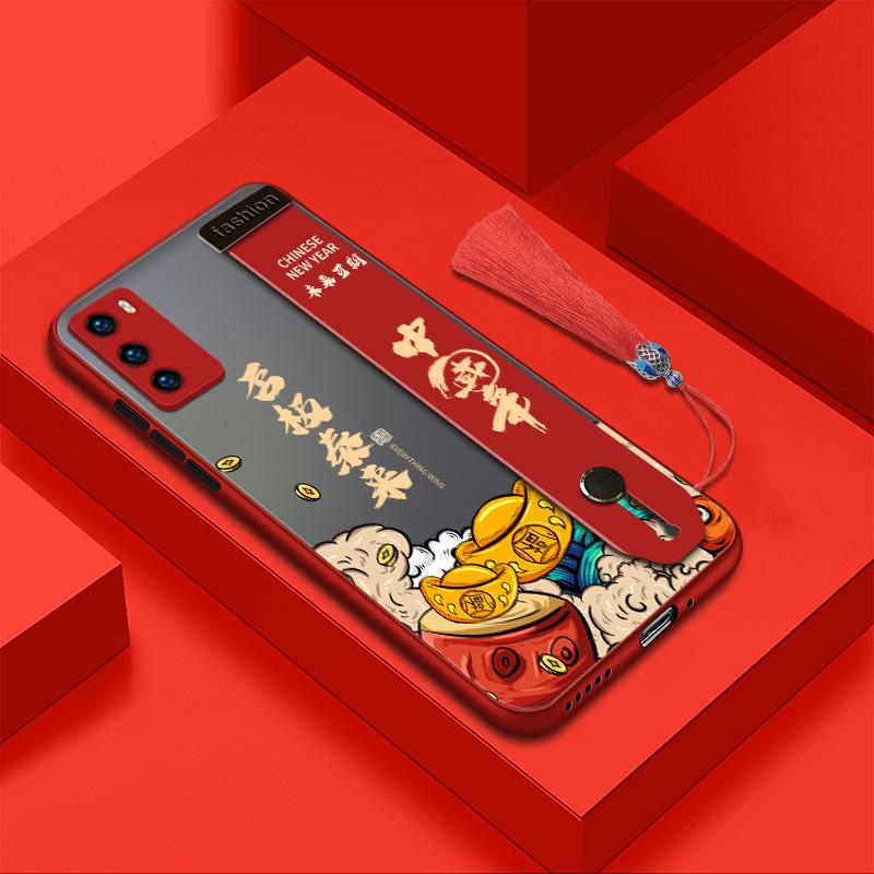 歌乐华 华为p40pro手机壳p40新年款个性创意中国风硅胶男女国潮网红磨砂镜头保护腕带全包防摔保护套