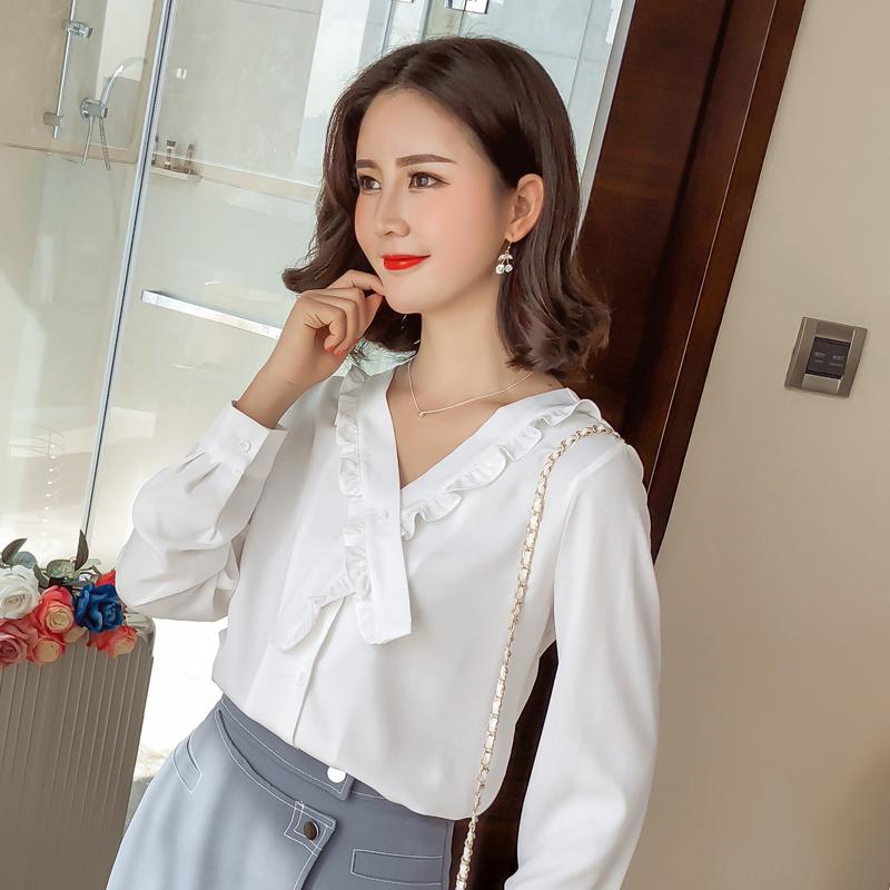 2018秋季女装新款V领雪纺衫韩版超仙chic上衣港味长袖女白色衬衣