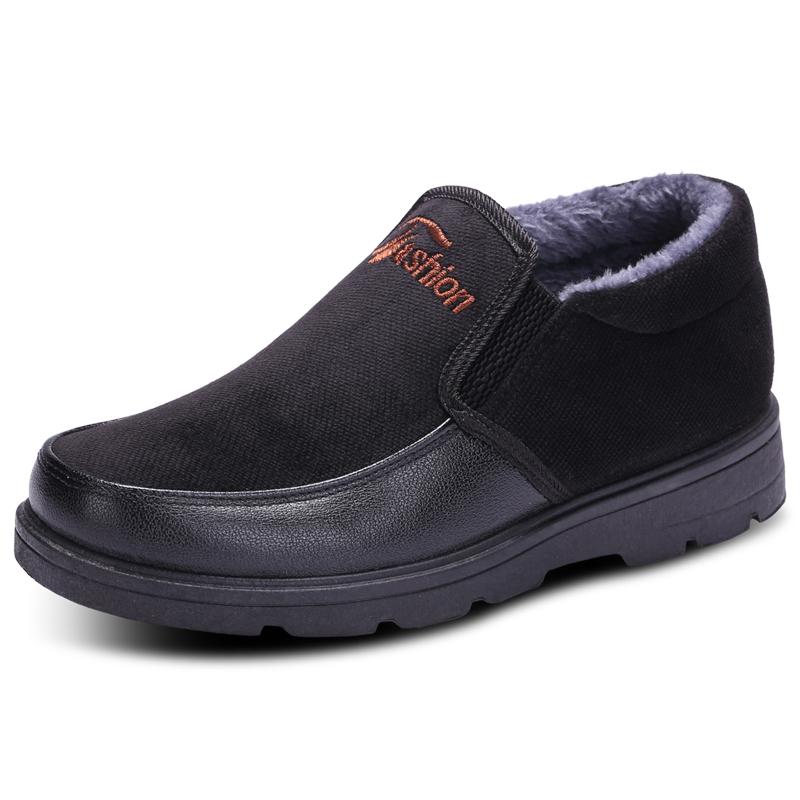 男棉鞋冬季加绒保暖靴子中帮加厚中老年防滑软底爸爸鞋