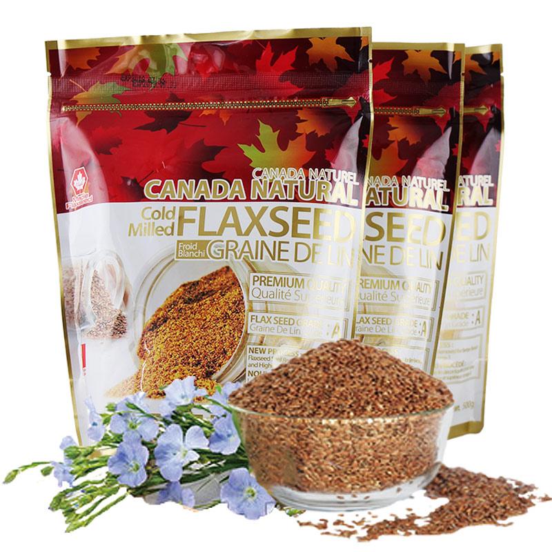 500g加拿大进口天然亚麻籽粉月子食用一级低温研磨即食代餐老黄金