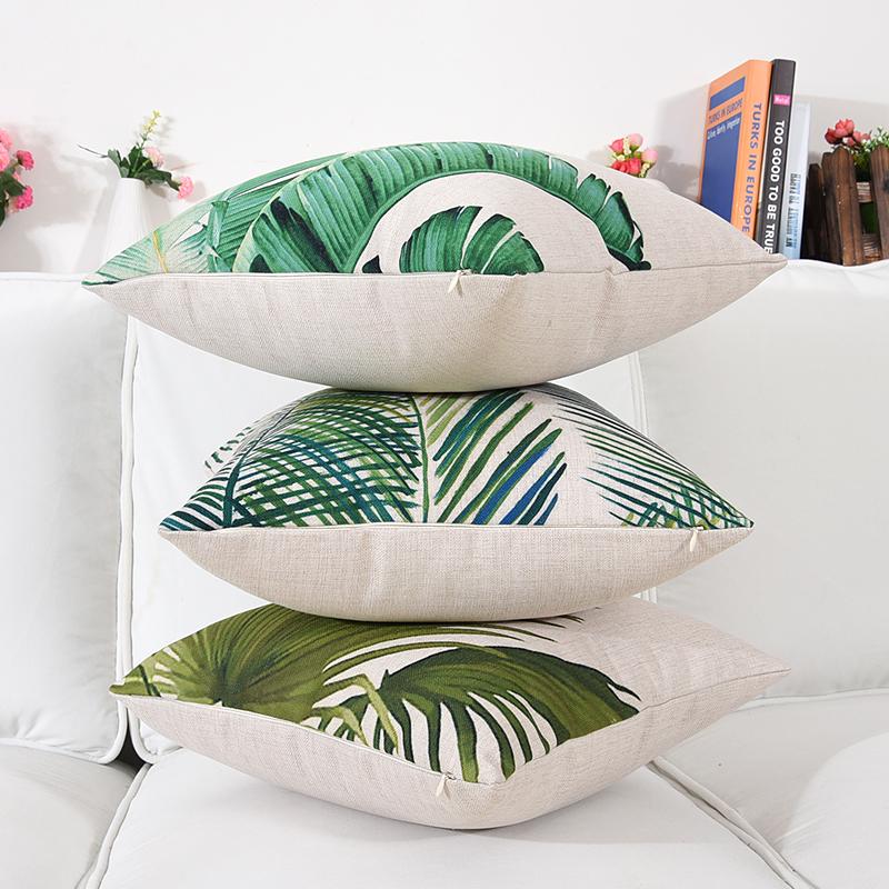 科伊斯清新绿色东南亚植物棉麻抱枕靠垫样板间沙发装饰靠枕套含芯