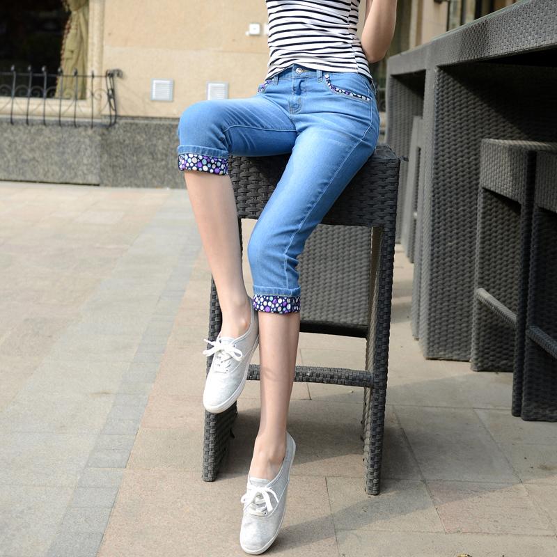 七分裤女夏季2019新款薄款中裤韩版百搭弹力修身显瘦大码牛仔马裤