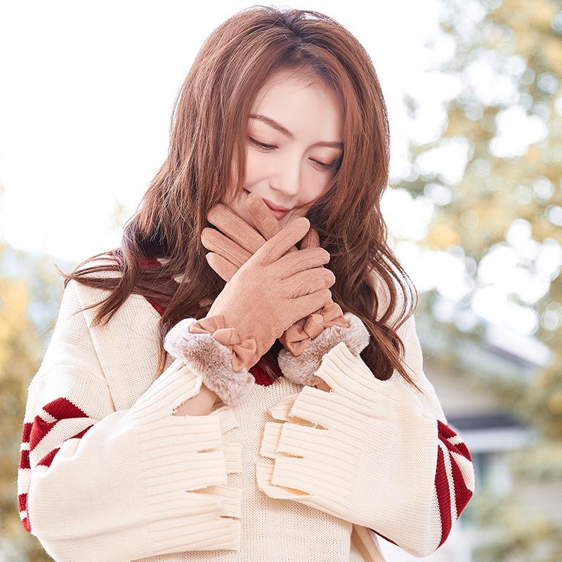 韩版麂皮绒手套女冬保暖可爱学生甜美鹿皮绒女士加绒加厚开车手套