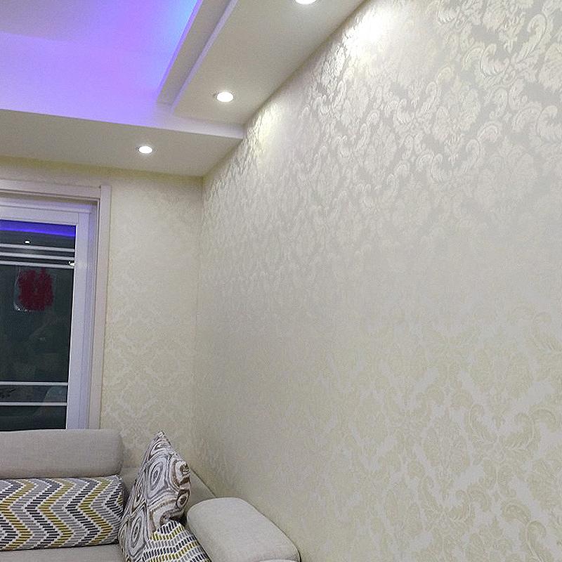 無縫防水歐式牆布高檔蠶絲美式簡約現代客廳卧室壁布電視背景牆紙