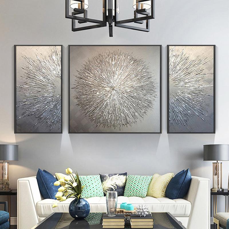 原创银色纯手绘抽象几何轻奢沙发背景墙客厅装饰画抽象三联画定制