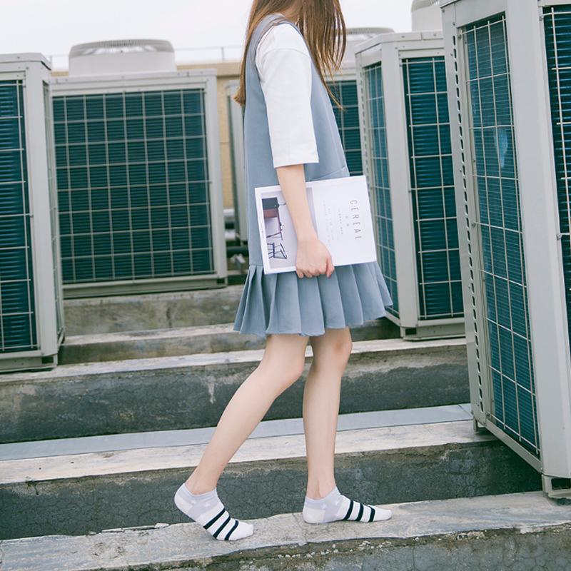 袜子女士低帮浅口船袜隐形袜可爱学生袜星星条纹短袜四季休闲棉袜
