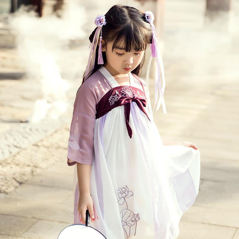汉服女童夏装中国风儿童古装超仙女襦裙童装古风小女孩连衣裙飘逸