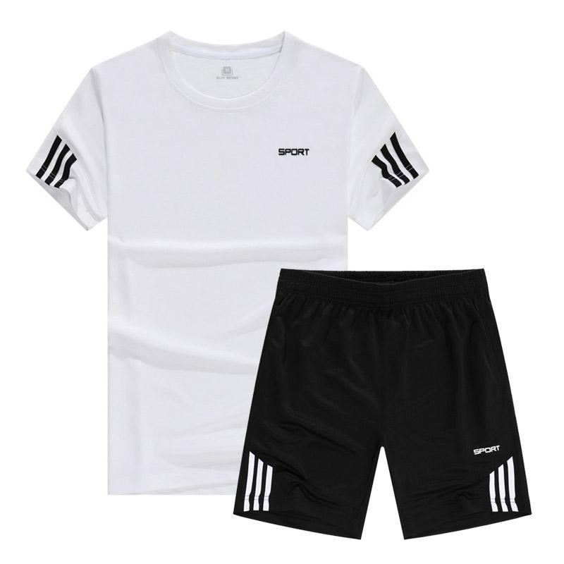 新款夏季运动套装男圆领短袖速干跑步服健身训练服透气吸汗休闲服