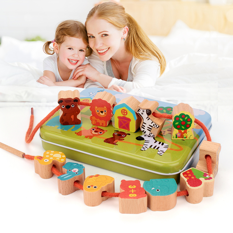 儿童穿珠子宝宝益智女孩早教串串珠玩具婴儿穿线积木质2-3-6周岁