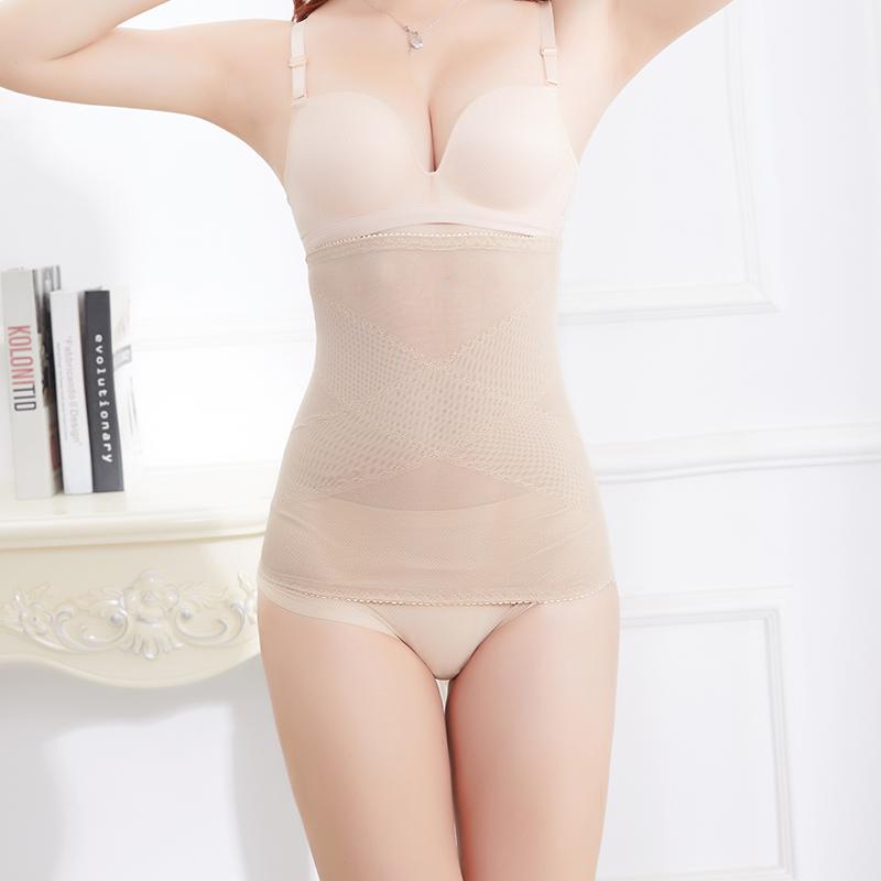收腹带产后束缚紧身塑型衣夏季束腰带女交叉网纱薄款束腹收小肚子