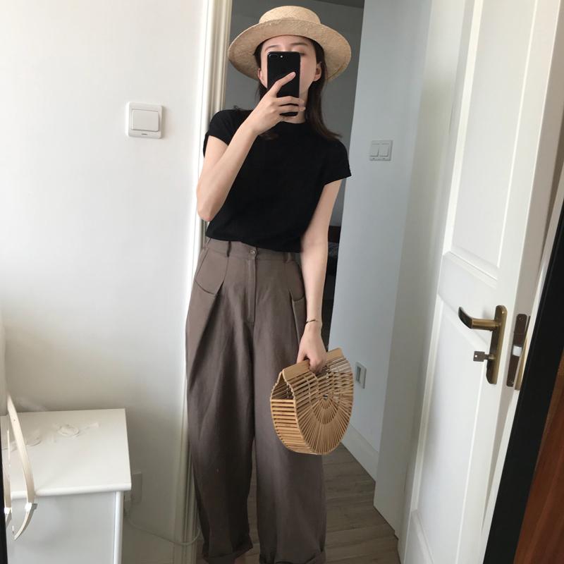 晚晚风复古韩版森女系宽松精神短装社会网红阔腿裤两件套装女夏季