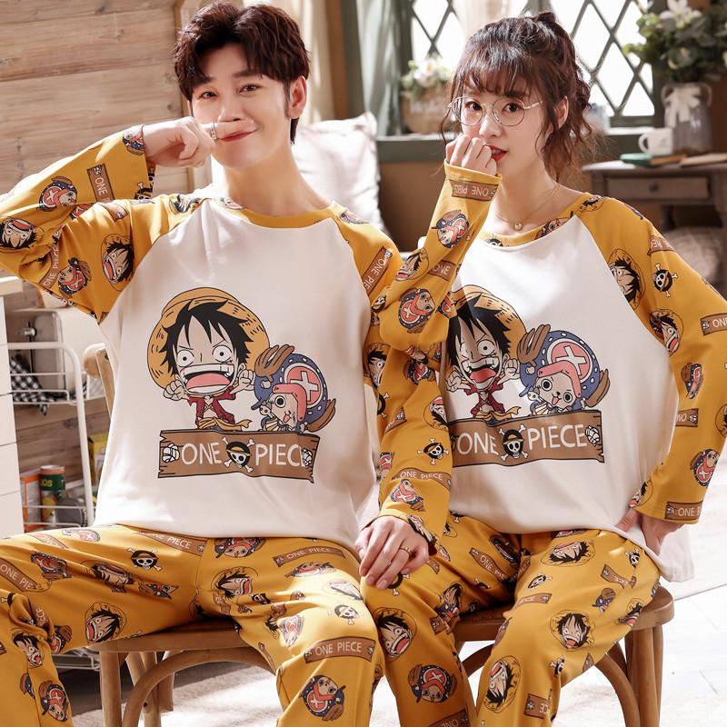 韩版情侣睡衣纯棉长袖长裤女士卡通可爱春秋季男款家居服秋冬套装
