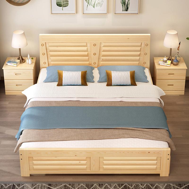5米木床1.8米经济型现代简约卧室单人床主卧简易松木床图片