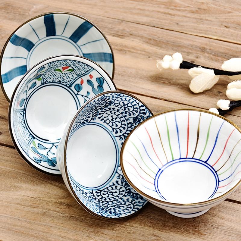 日式陶瓷碗家用吃饭餐具米饭碗小汤碗手绘高脚碗创意斗笠碗喇叭碗