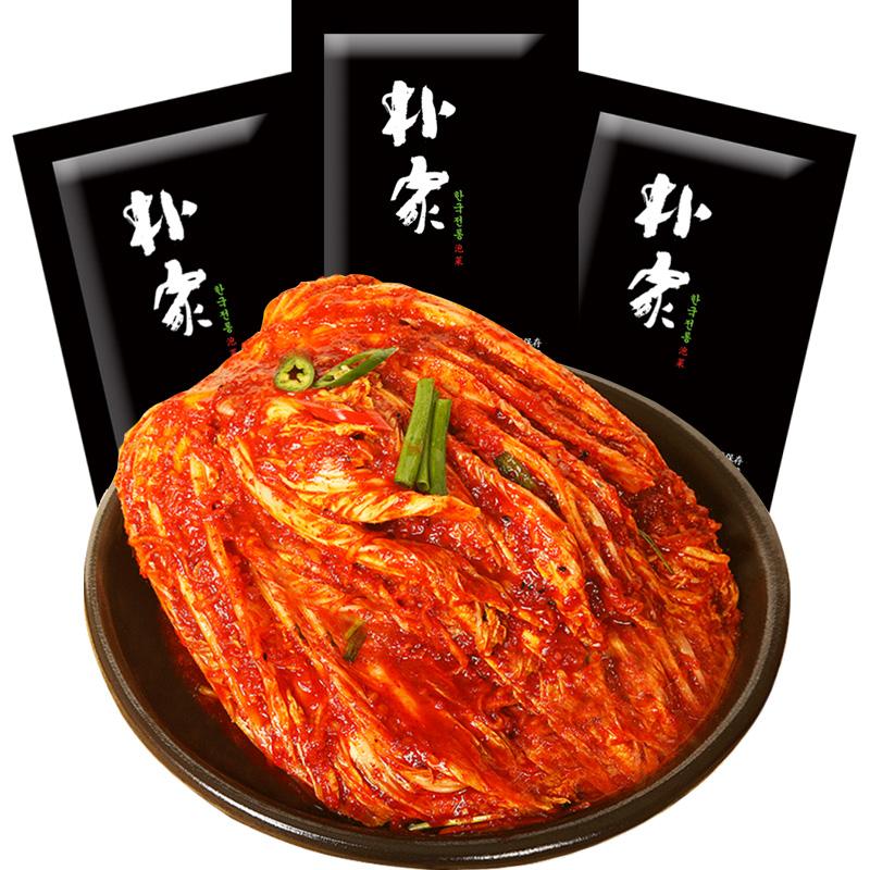 朴家泡菜韩国泡菜正宗辣白菜韩式下饭菜朝鲜腌制辣白菜整颗 3袋装