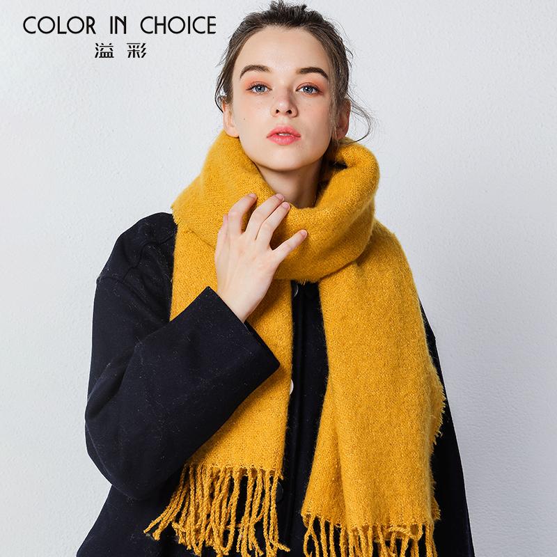 溢彩仿羊绒大围巾女秋冬季韩版纯色百搭披肩围巾保暖加厚针织围巾