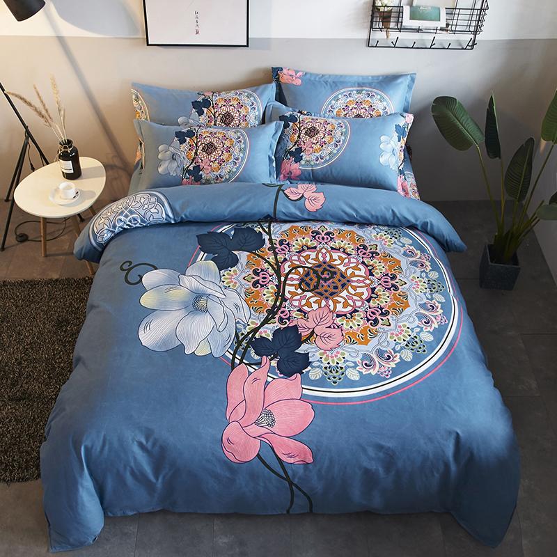 简约加厚磨毛四件套全棉纯棉1.8米单双人床单被套床上用品四件套